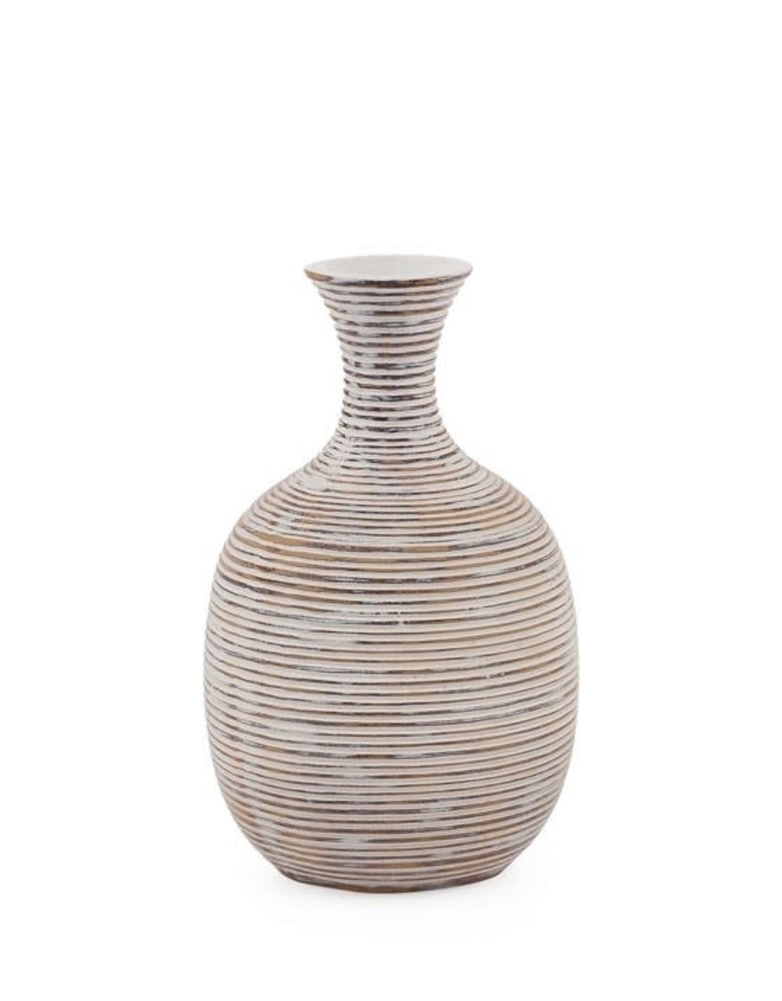 "Colombo Ribbed Resin Short Bulb Vase 8""H"