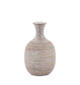 "Short Colombo Ribbed Resin Bulb Vase 8""H"