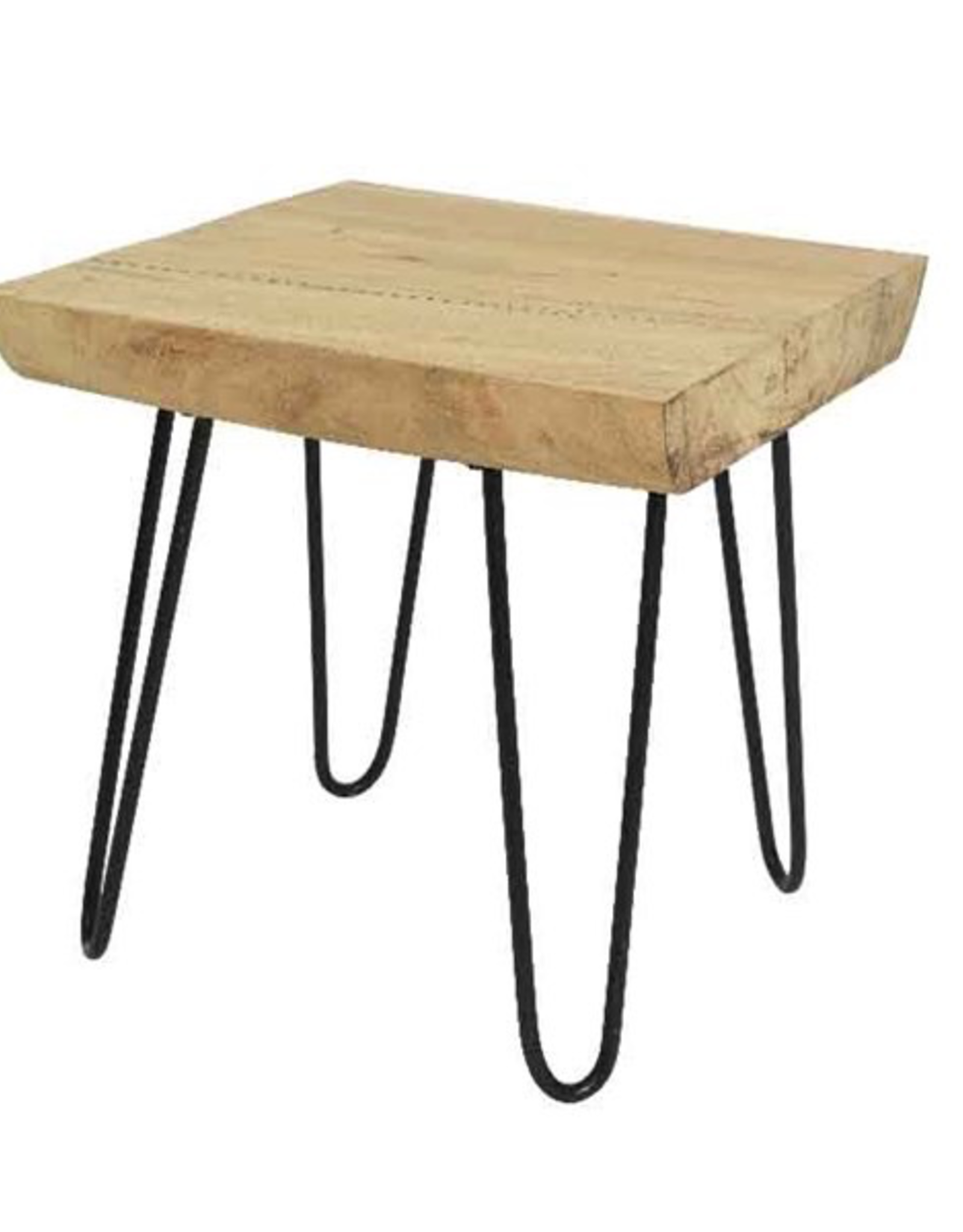 Sugar Wood Side Table with Metal Base