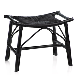 Tomoko Black Rattan Stool