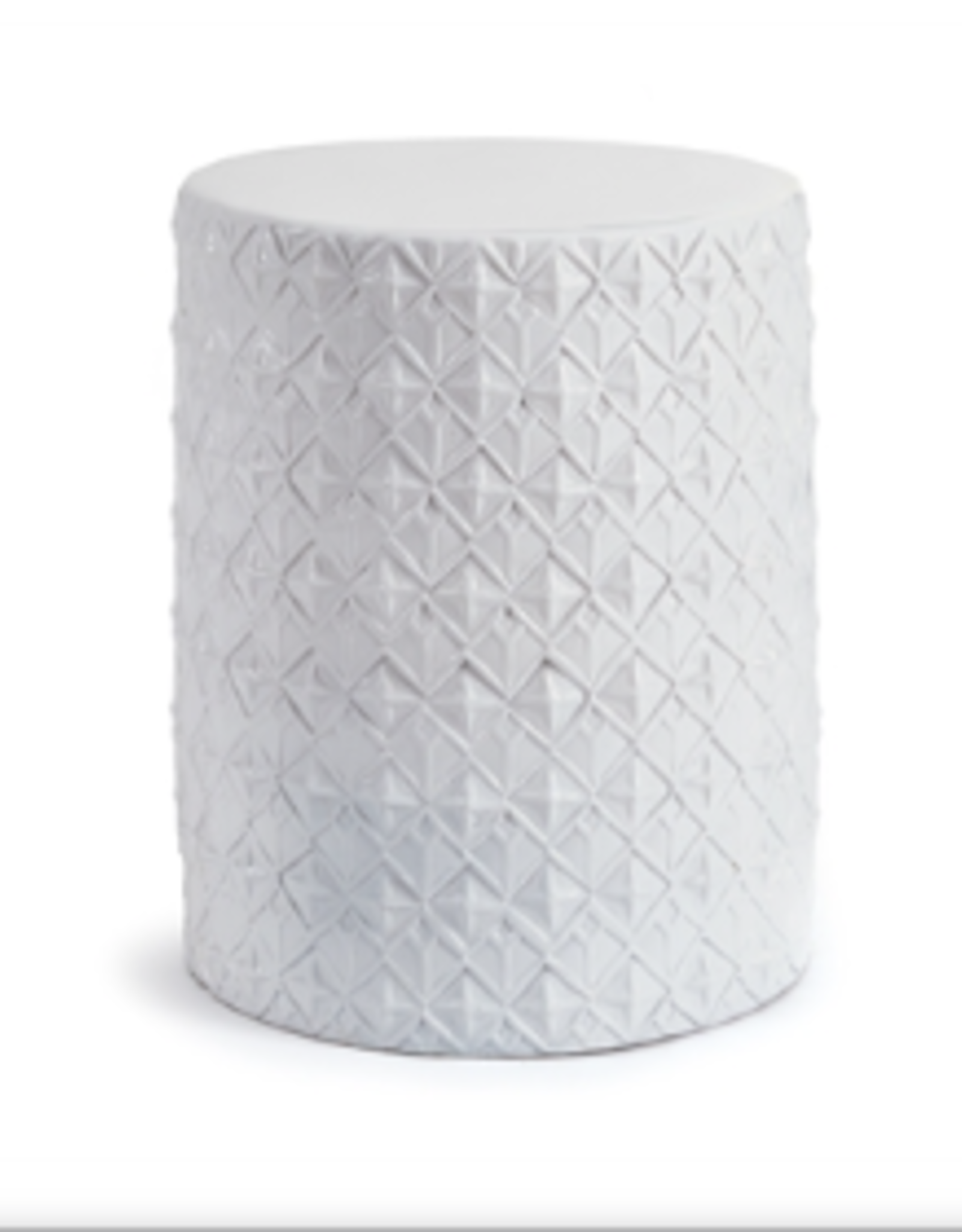 White Ceramic Stool with Geometric Pattern
