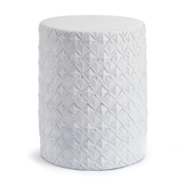 White Ceramic Stool with Geometric Pattern