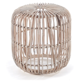 Whitewash Rattan Stool