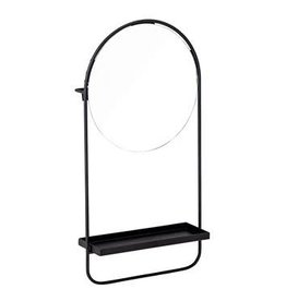 Black Metal Mirror with Shelf