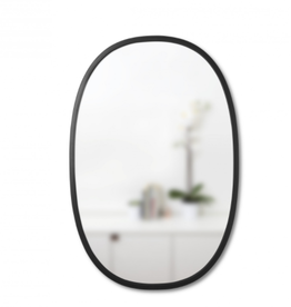 "24 x 36"" Oval Black Hub Mirror"
