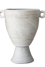 "Reactive Glaze Stone Coloured Terra Cotta Urn 9x14""H"