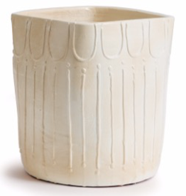 Cream Ryder Pot with Raised Tribal Pattern 10""