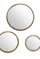 """Small Round Wall Mirror with Rattan 12"""""""