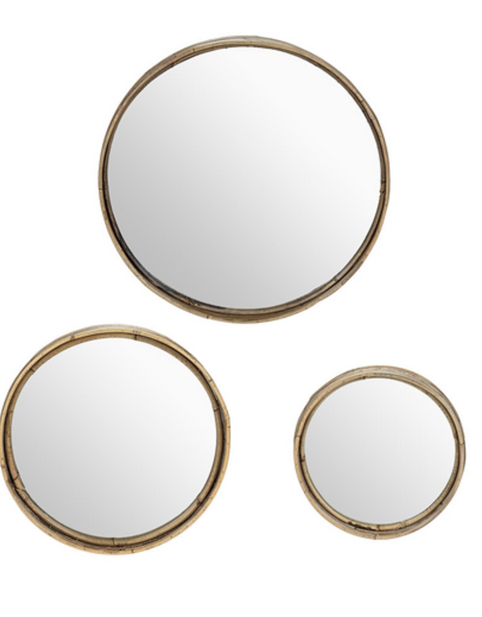 "Medium Round Wall Mirror with Rattan 16"""