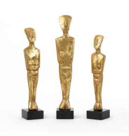 Set of 3 Gold Cast Iron Statues with Black Marble Base - Reg $119 Now $59
