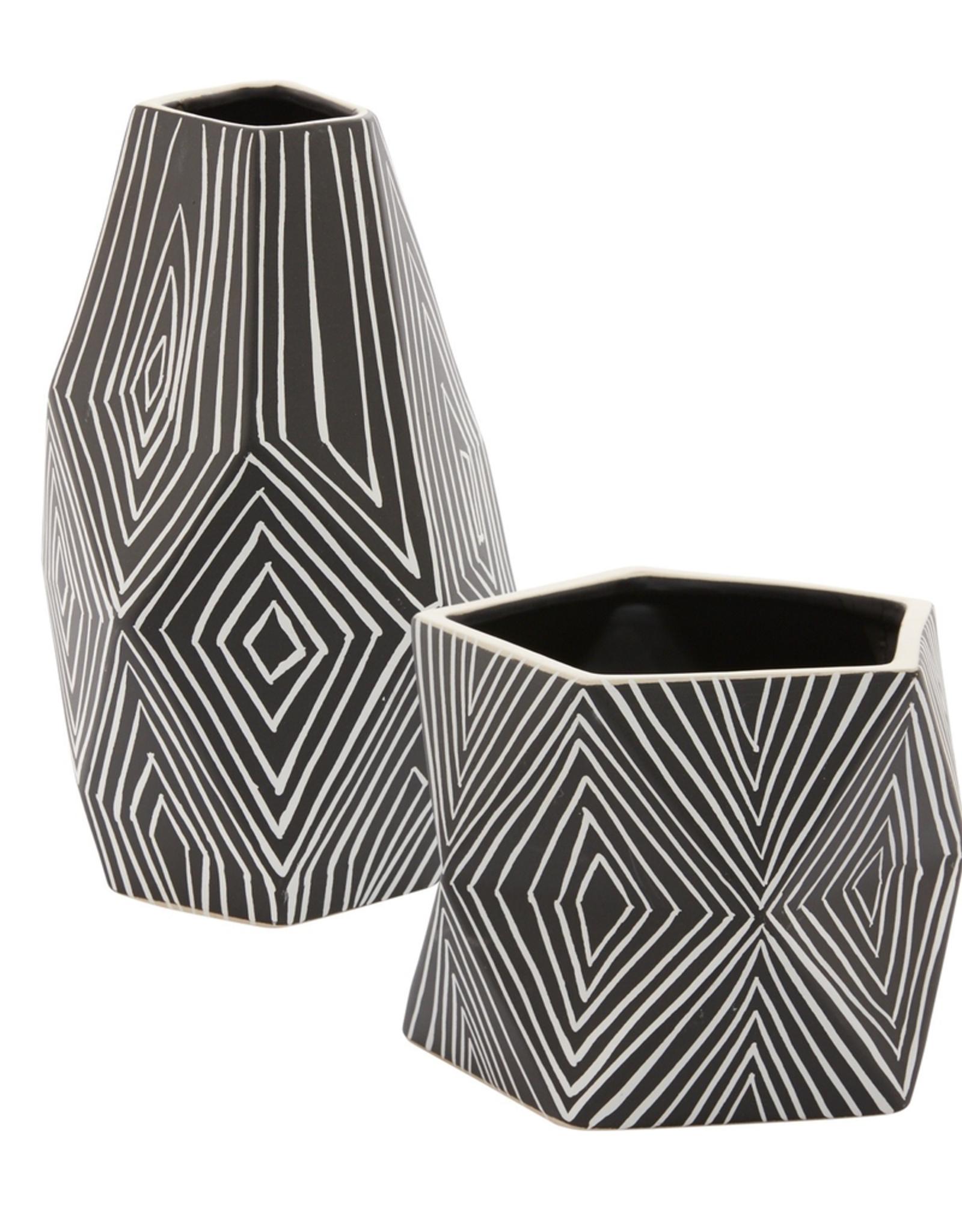 Astro Black & White Patterned Pot