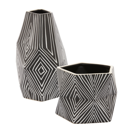 Astro Black & White Patterned Pot
