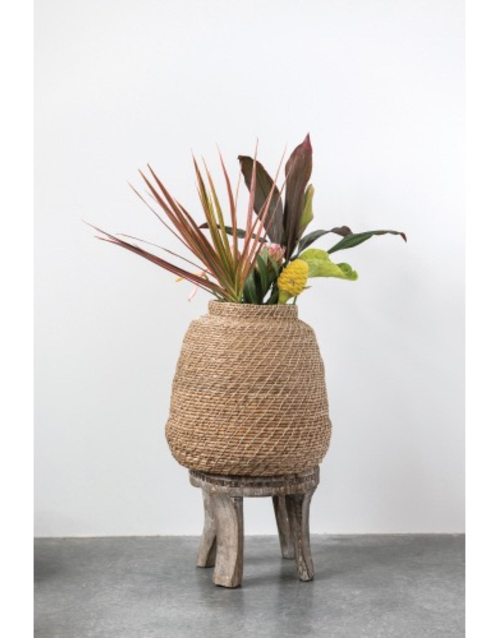 """Handwoven Cattail Basket 17"""" Round"""