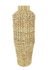 """Hand-Woven Water Hyacinth and Rattan Vase  8x22"""""""