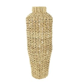"Hand-Woven Water Hyacinth and Rattan Vase 9""x30"""