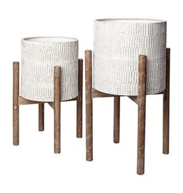 """Off White Groot Plant Stand with Wooden Base H19"""" D10"""""""