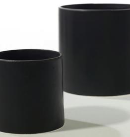 """Large Matte Black Cercle Pot D6.5"""" H6.25"""""""