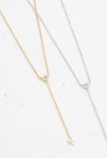 Comme Ci Comme Ca Lariat Silver Plated Brass Necklace