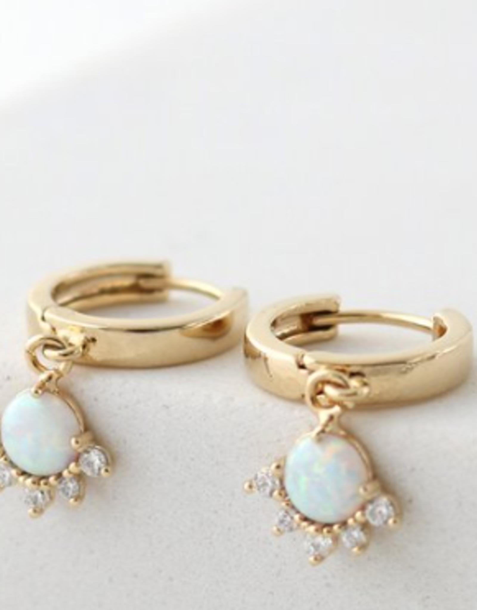 Gold Plated Brass Opal/Gold Juno Hoop Earrings
