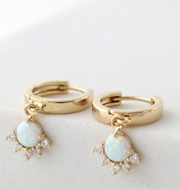 Gold Plated Brass Opal/Gold Juno Hoop Earrings