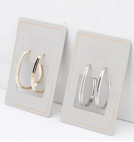 Earring, Olivia Hoop Silver, Sterling Silver Posts, Silver/Rhodium-Plated Brass