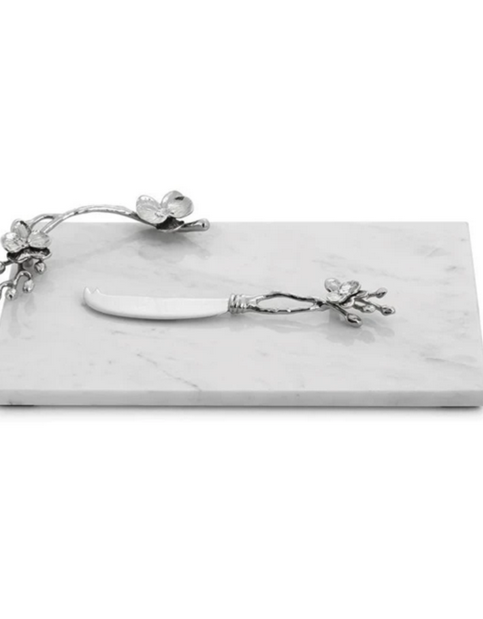 White Orchid Small Cheese Board w/ Knife, Michael Aram