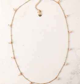 Dot Crystal Necklace - Blush