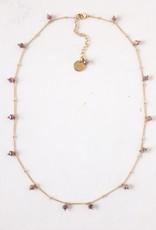 Plum Dot Crystal Necklace