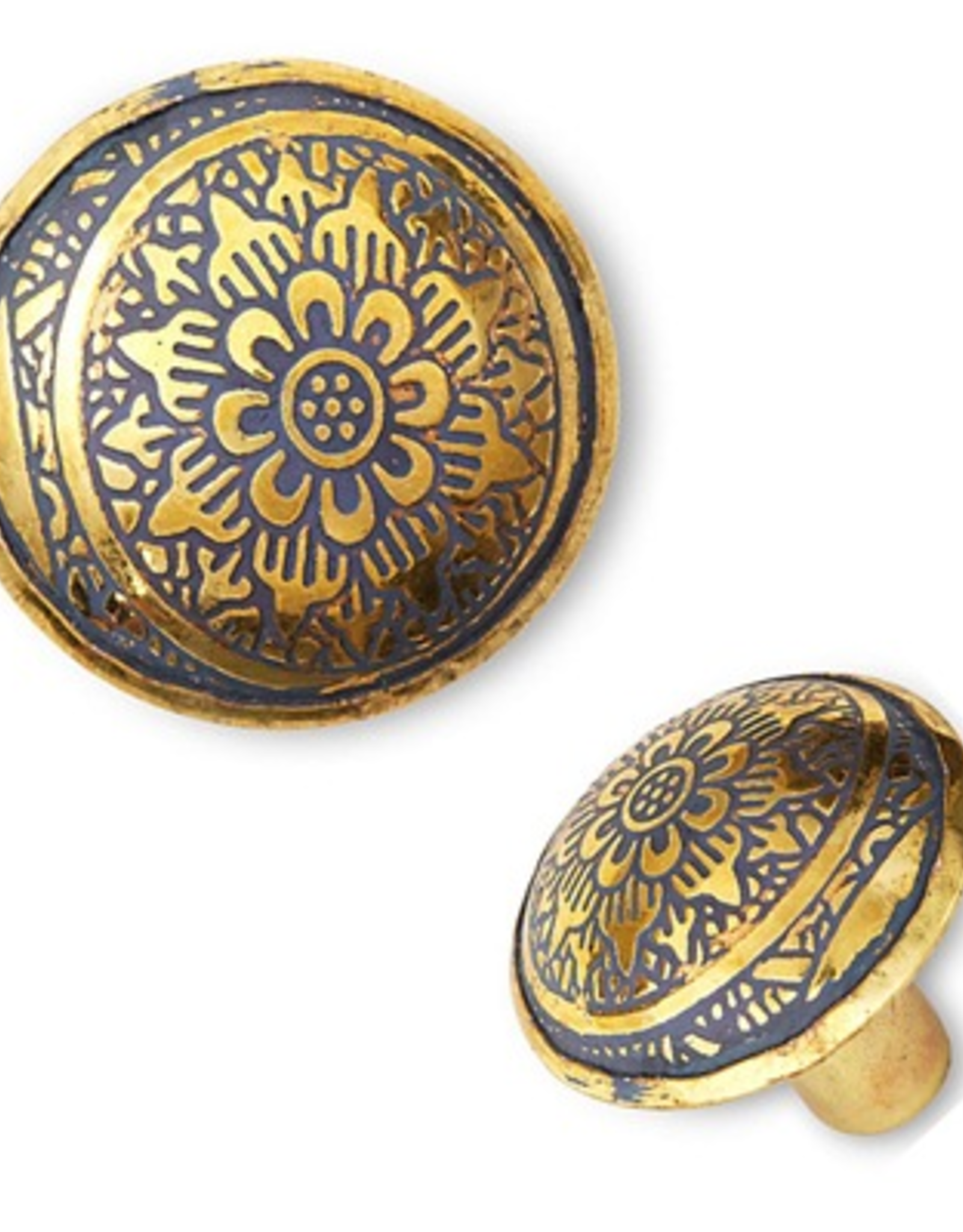 Brass Knob with Engraved Yellow Flower Pattern