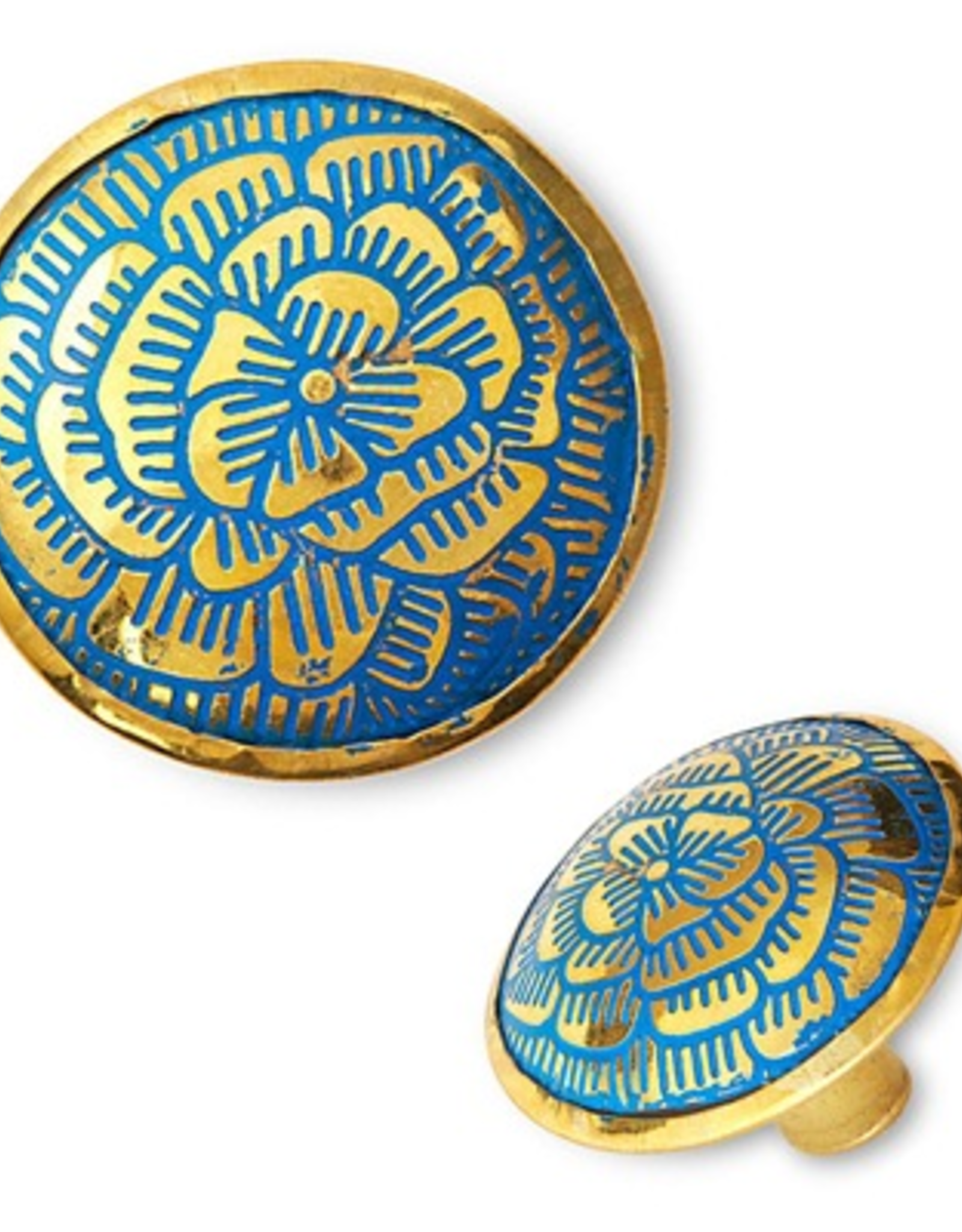 Brass Knob with Engraved Blue Flower Pattern