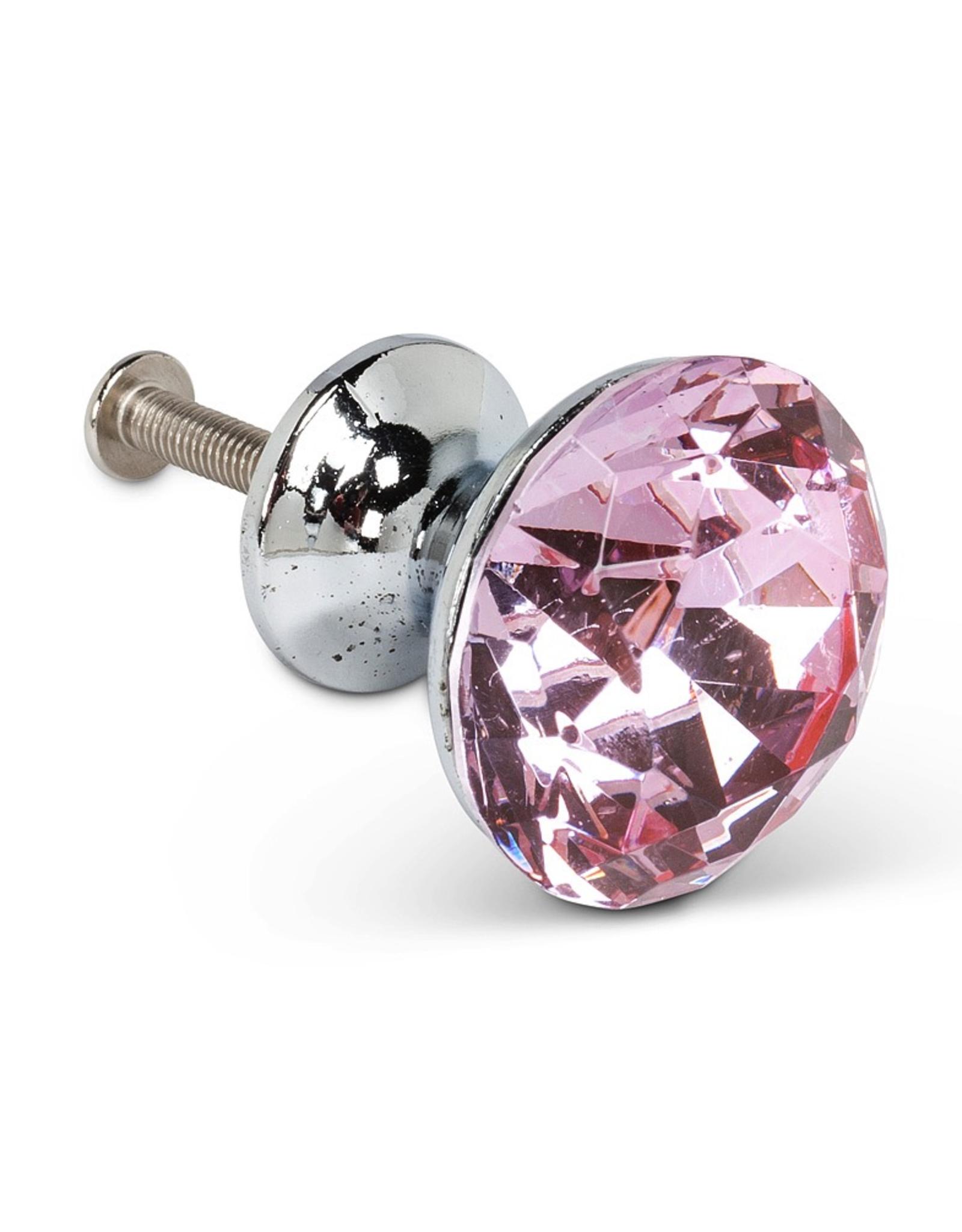Pink Flat Cut Crystal Knob