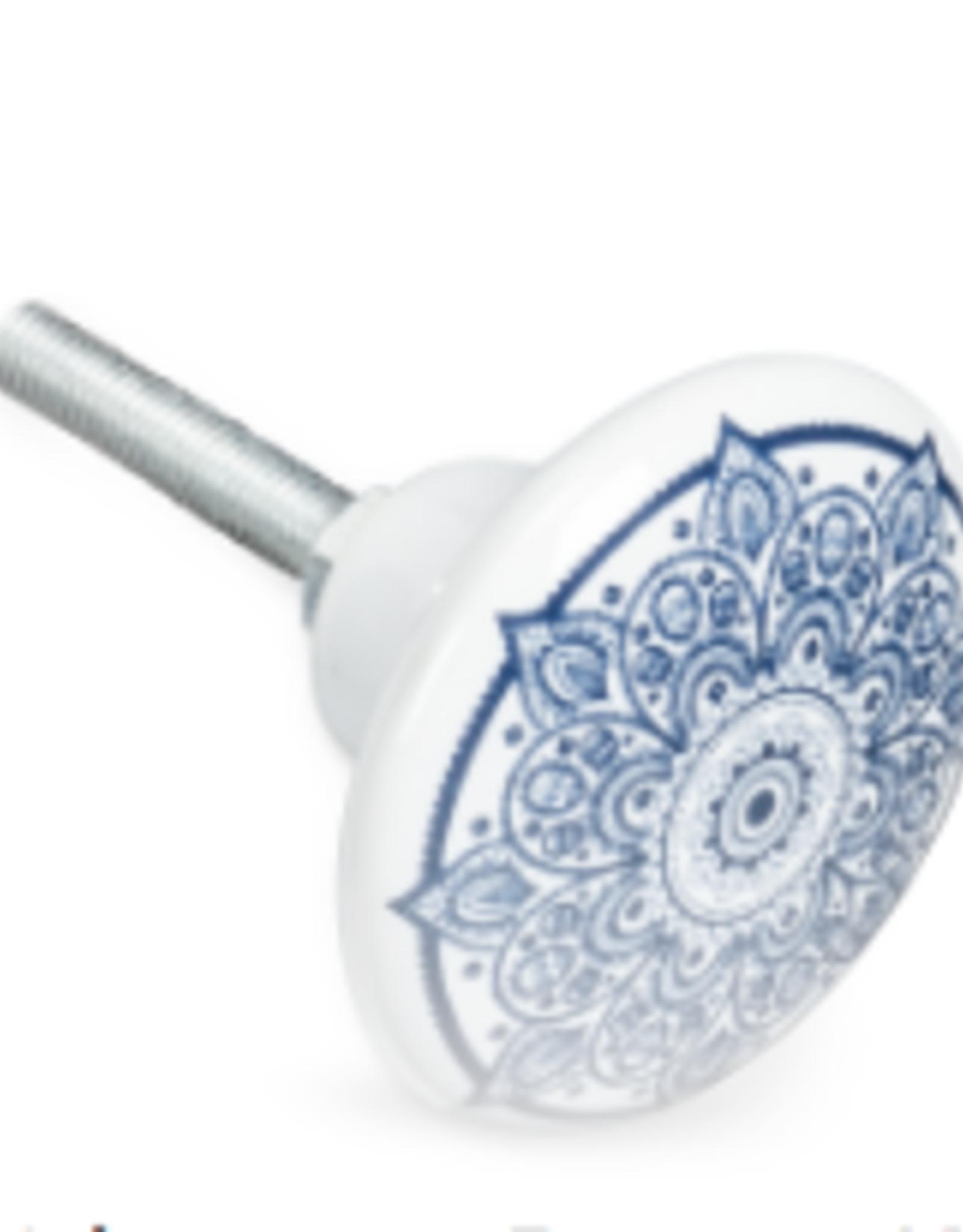 Kaleidoscope Blue & White Knob