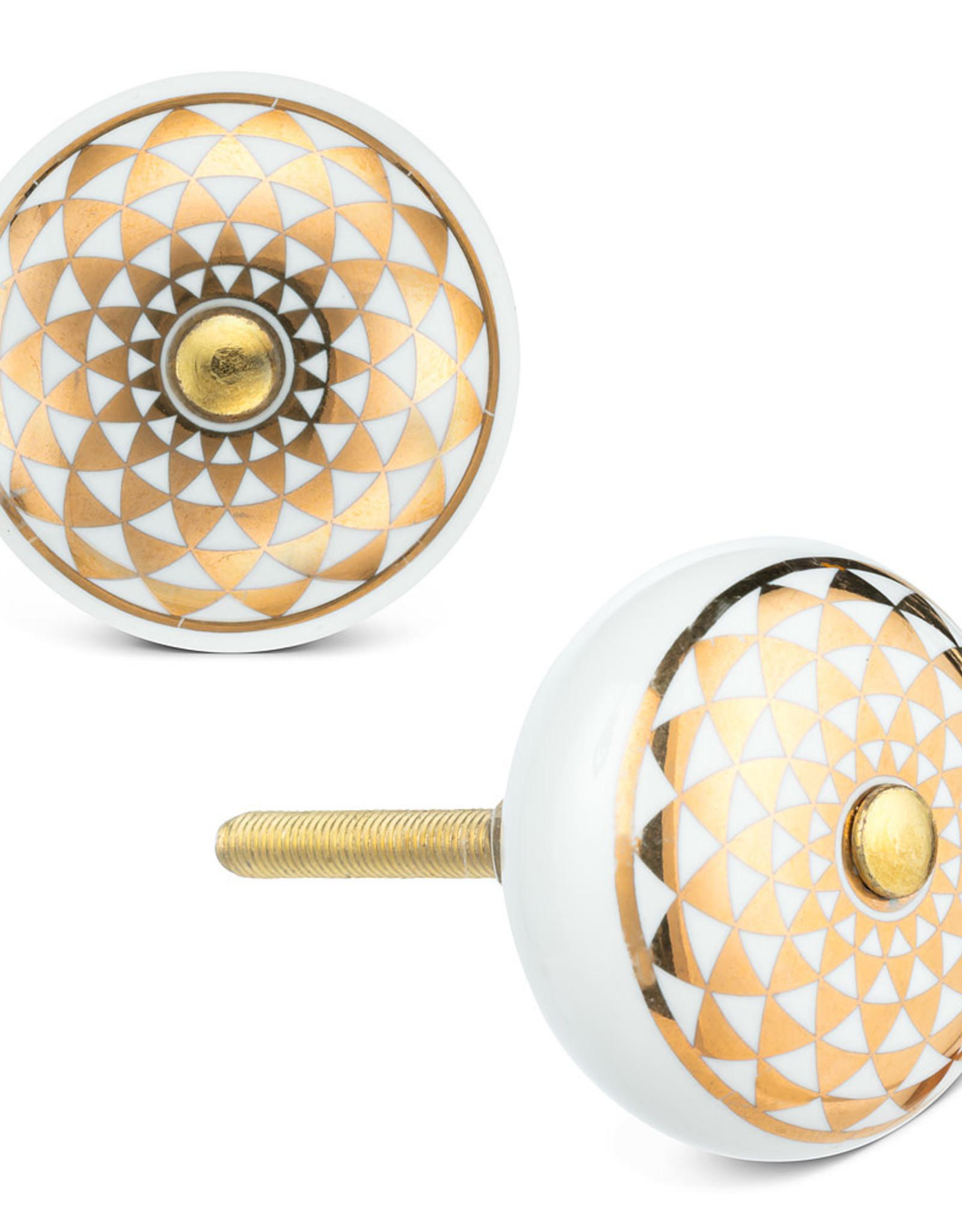 Gold & White Kaleidoscope Knob