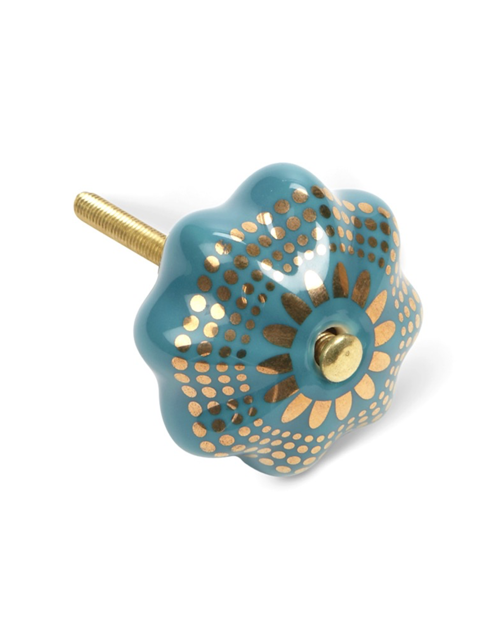Turquoise & Gold Pumpkin Drawer Knob