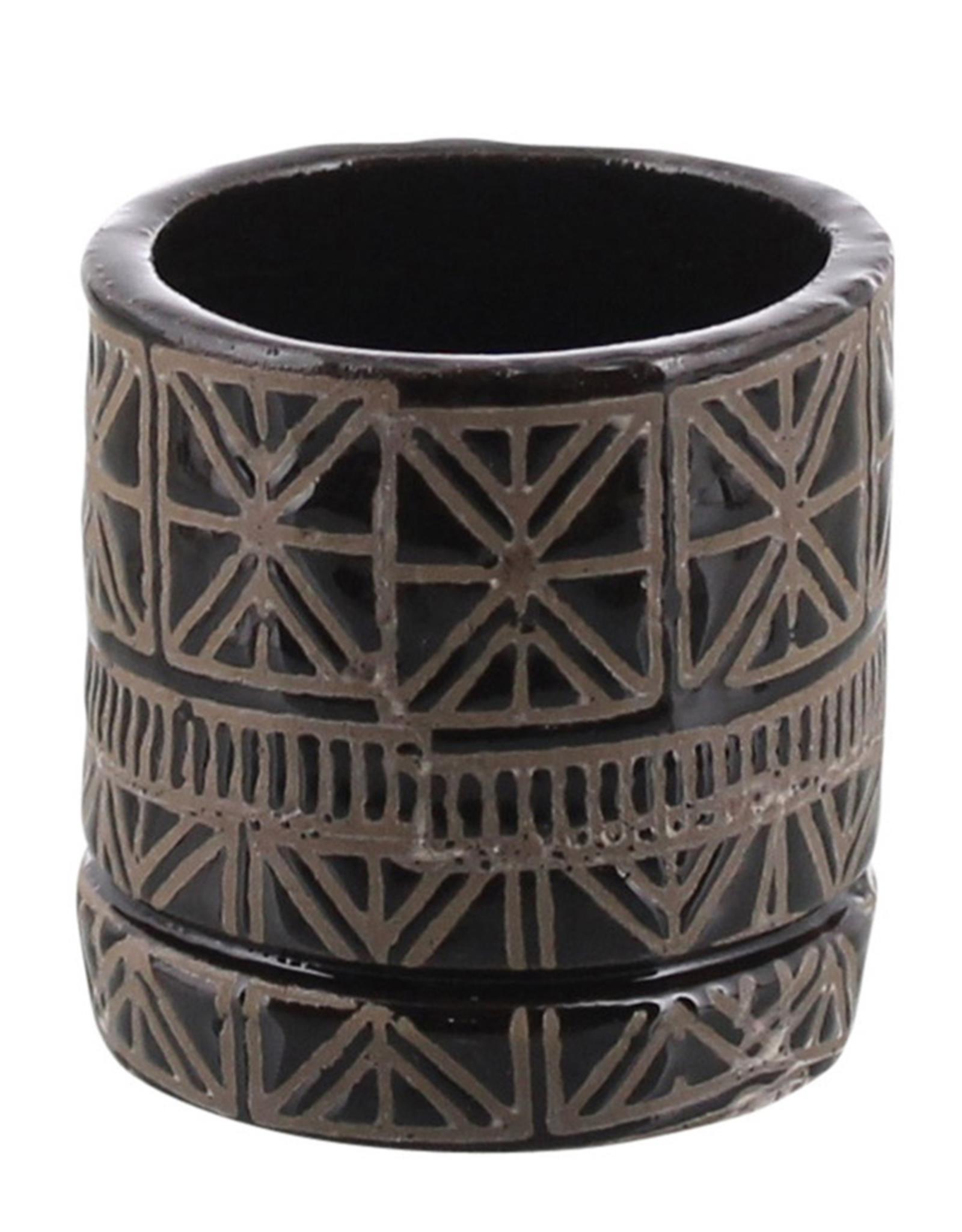 "Small Cusco Pot Grey Clay with Shiny Black Glaze 3"""