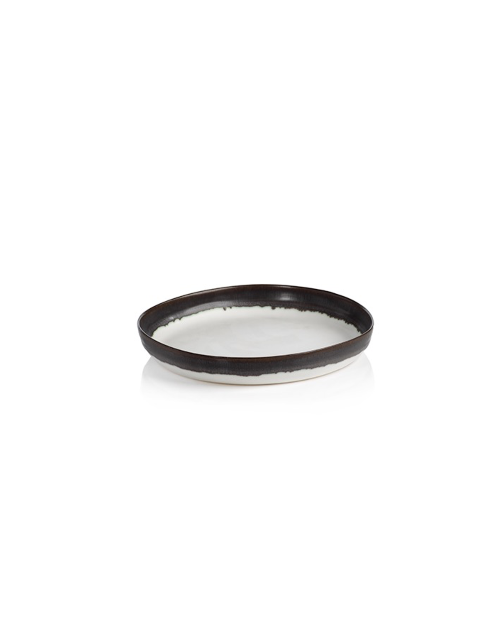 Shallow Bowl, White with Black Rim, Ceramic, D 6.75""