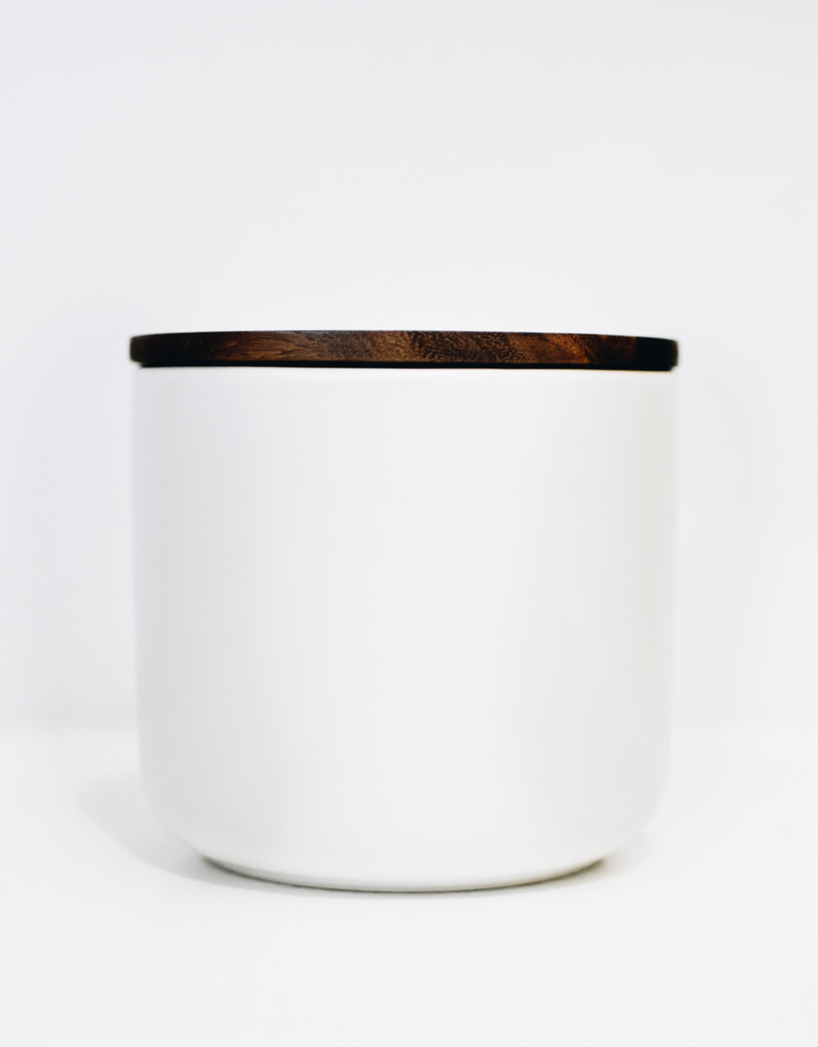 Large White Stoneware Container with Acacia Lid