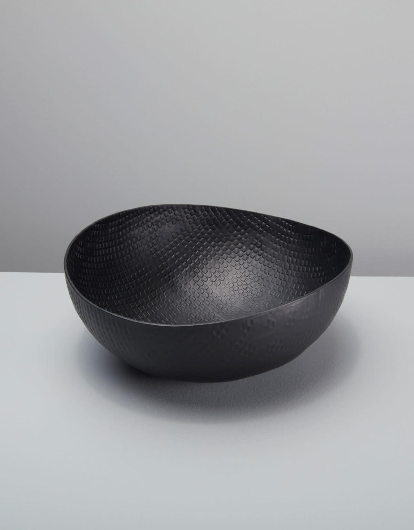"Large 12"" Black Crosshatch Aluminum Bowl"