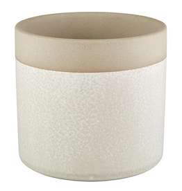 "4"" Cream  with Natural Top Band Pot"