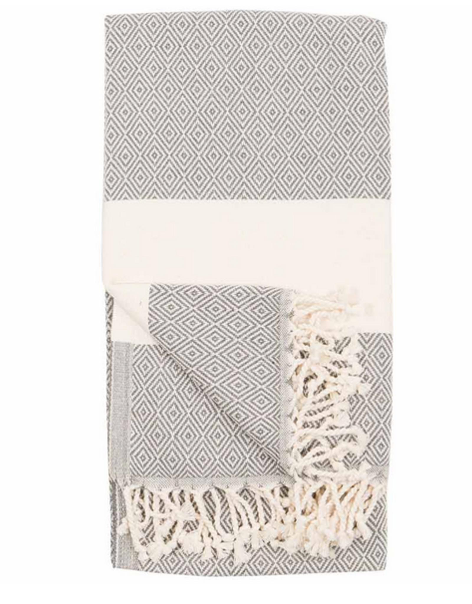 Slate Diamond Pattern Turkish Towel
