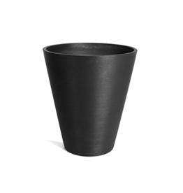 "Medium Black Plastic Kobo Planter D15.5"" H18"""