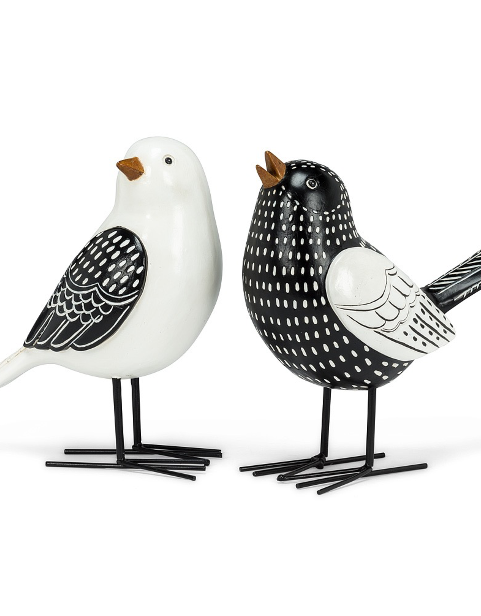 "Black and White Bird Figurine 6.5"" 2 assort."