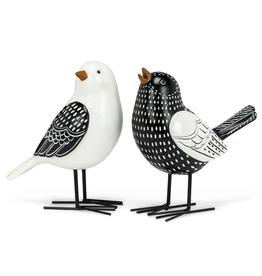 "Bird Figurine, Black & White, 6.5"" 2 Assorted"
