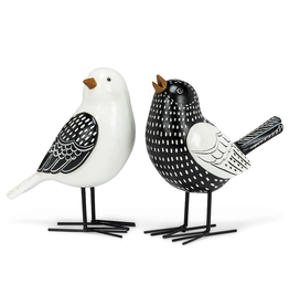 "Black and White Bird Figurine 6.5"" 2 Assorted"