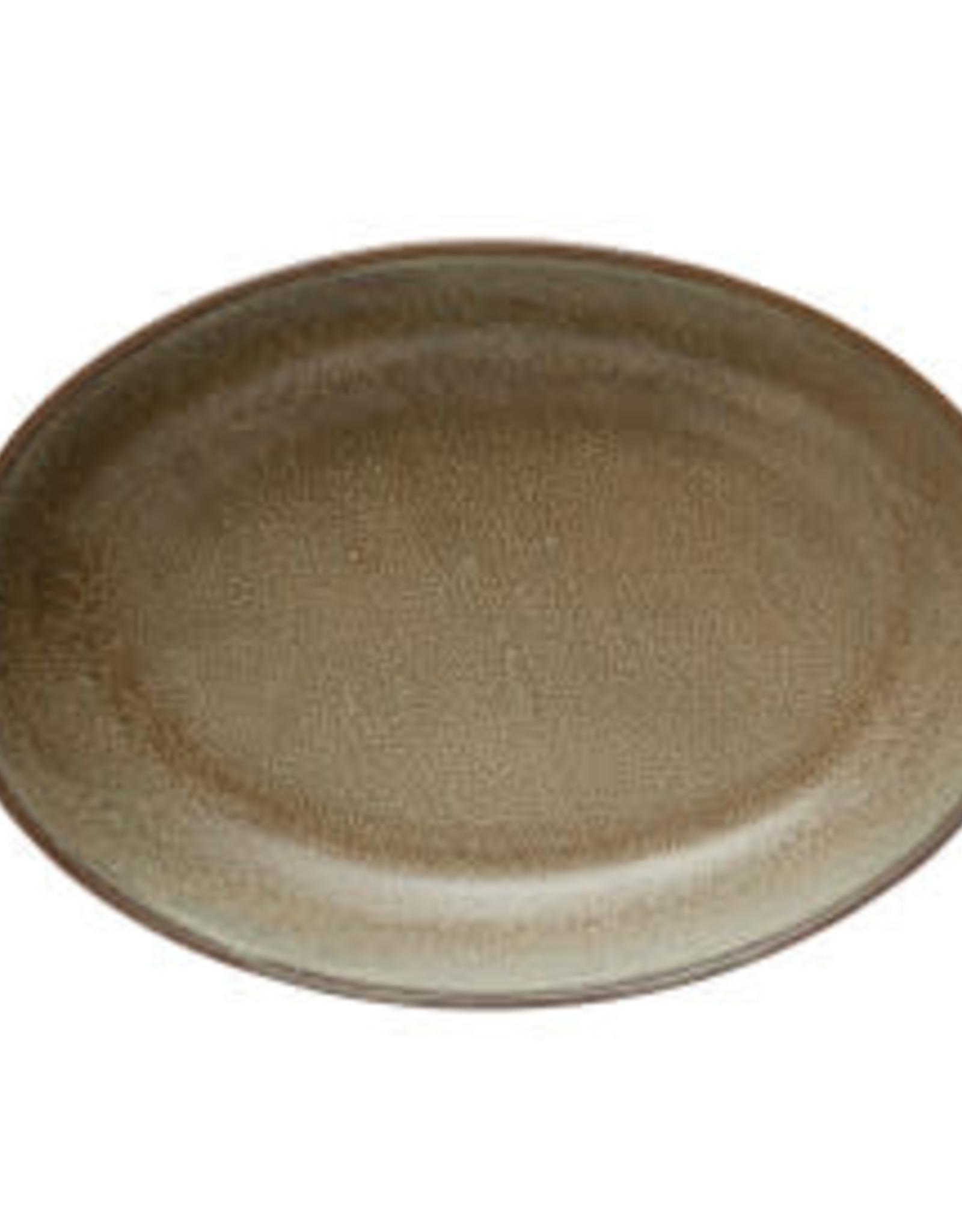 "Brown Reactive Glaze Stoneware Serving Platter L12"" W8"" H2"""