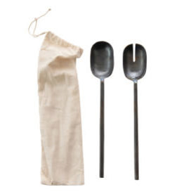 Hand Forged Metal Salad Servers :11.75""