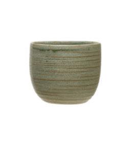 "Matte Green Stoneware Cup D4"""