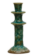 Green Reactive Glaze Candle Holder H8.5""