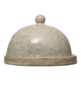Beige Stoneware Butter Dish