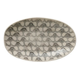 "Black & White Stoneware Platter L15"" W9.25"""